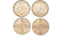 BNPS.co.uk (01202) 558833<br /> Pic: DNW/BNPS<br /> <br /> Pictured: These George V coins were part of the sale<br /> <br /> A remarkable single-owner collection of over 200 historic British coins spanning eight monarchs has sold for a staggering £353,000.<br /> <br /> Ian Sawden amassed an array of coinage from the Georgian, Victorian and Edwardian periods, with the latest examples struck during George VI's reign.<br /> <br /> A 1797 Cartwheel proof gold penny from George III's reign, decorated with a laureate bust wearing a wreath with 10 leaves, fetched £24,800.<br /> <br /> A 1788 gold halfpenny depicting Britannia seated with a spear achieved £27,280, while a 1799 gold halfpenny went for £23,560 and a 1848 Proof Florin coin from Victoria's reign sold for £16,120.