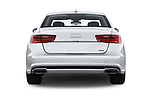 Straight rear view of 2017 Audi A6 Prestige 4 Door Sedan stock images