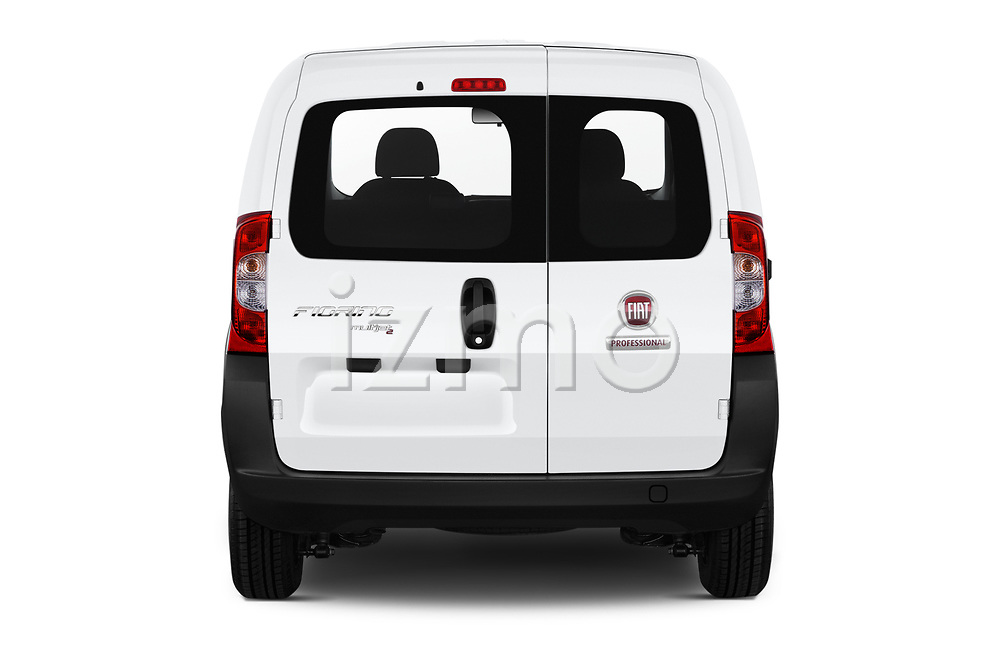 Straight rear view of a 2018 Fiat Fiorino Base 5 Door MPV stock images