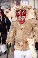 Buso on the Monday procession of the Busojaras Spring  festival 2010 Mohacs Hungary - Stock photos