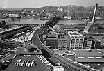 Pittsburgh PA: View of the Fort Wayne Railroad Bridge over the Allegheny River from the roof of Penn Station. The bridge was built between 1901 and 1904 by American Bridge Company on new piers immediately next to the 1868 bridge it was going to replace.