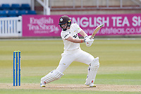 Ollie Pope drives backward of square during Surrey CCC vs Hampshire CCC, LV Insurance County Championship Group 2 Cricket at the Kia Oval on 30th April 2021