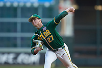 Baylor Bears starting pitcher Evan Godwin (27) in action against the LSU Tigers in game five of the 2020 Shriners Hospitals for Children College Classic at Minute Maid Park on February 28, 2020 in Houston, Texas. The Bears defeated the Tigers 6-4. (Brian Westerholt/Four Seam Images)