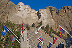 Mount Rushmore National Memorial, SD<br /> Avenue of the flags and the faces of Washington, Jefferson, Roosevelt, and Lincoln