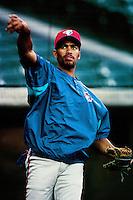 Jose Cruz jr. of the Toronto Blue Jays during a game against the Anaheim Angels at Angel Stadium circa 1999 in Anaheim, California. (Larry Goren/Four Seam Images)