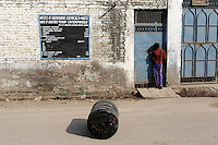 A child looks into a tannery, in the Jajmau area of Kanpur.