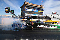 Feb 4, 2016; Chandler, AZ, USA; NHRA top fuel driver Leah Pritchett during pre season testing at Wild Horse Pass Motorsports Park. Mandatory Credit: Mark J. Rebilas-USA TODAY Sports
