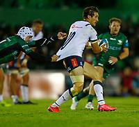 1st October 2021;  The Sportsground, Galway, Ireland; United Rugby Championships, Connacht versus Bulls; Mack Hansen (Connacht) tries to hold on to Johan Goosen (Bulls)