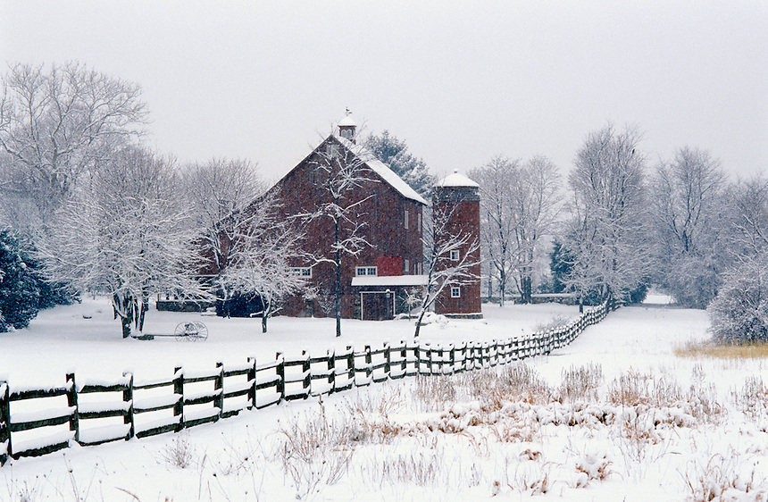 Barn and snow covered field in winter, Moorestown, NJ