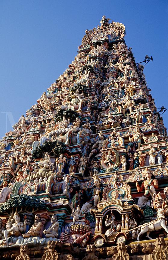 India. Madras/Chennai.  The Gopuram of the Kapaleeswarar Temple at Mylapore.  Hindu temple dedicated to the Godess Shiva.