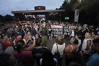 Comunidades atingidas pelos rejeitos de bauxita protestam na portaria principal da refinaria de alumina da Norsk Hydro em Barcarena<br />Barcarena, Pará, Brasil.<br />Foto Maycon Nunes