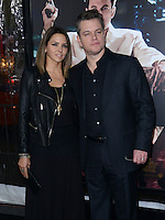 Matt Damon + wife Luciana Barroso @ the premiere of 'Live By Night' held @ the Chinese theatre. January 9, 2017