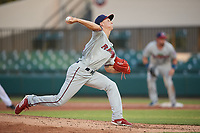 Fort Myers Miracle starting pitcher Griffin Jax (24) delivers a pitch during a game against the Lakeland Flying Tigers on August 7, 2018 at Publix Field at Joker Marchant Stadium in Lakeland, Florida.  Fort Myers defeated Lakeland 5-0.  (Mike Janes/Four Seam Images)
