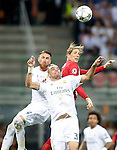 Real Madrid's Sergio Ramos (l) and Pepe (c) and Atletico de Madrid's Fernando Torres during UEFA Champions League 2015/2016 Final match.May 28,2016. (ALTERPHOTOS/Acero)