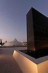 Jerusalem, Israel, The Shrine of the Book at the Israel Museum, focuses on the Dead Sea Scrolls, the Knesset building is at the distant center<br />
