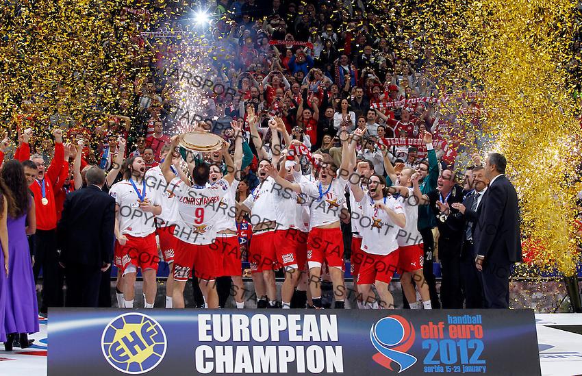 Denmark handball players celebrate victory in final men`s EHF EURO 2012 handball championship game against Serbia in Belgrade, Serbia, Sunday, January 29, 2011.  (photo: Pedja Milosavljevic / thepedja@gmail.com / +381641260959)
