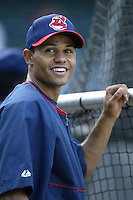 Coco Crisp of the Cleveland Indians before a 2002 MLB season game against the Los Angeles Angels at Angel Stadium, in Los Angeles, California. (Larry Goren/Four Seam Images)