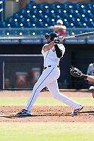 Peoria Javelinas third baseman Hudson Potts (13), of the San Diego Padres organization, follows through on his swing during an Arizona Fall League game against the Scottsdale Scorpions at Peoria Sports Complex on October 18, 2018 in Peoria, Arizona. Scottsdale defeated Peoria 8-0. (Zachary Lucy/Four Seam Images)
