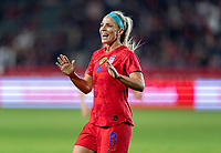 CARSON, CA - FEBRUARY 7: Julie Ertz #8 of the United States celebrates during a game between Mexico and USWNT at Dignity Health Sports Park on February 7, 2020 in Carson, California.