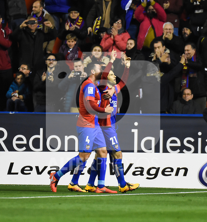 Levante's  David Navarro and Giuseppe Rossi celebrating a goal   during La Liga match. February 19, 2016. (ALTERPHOTOS/Javier Comos)