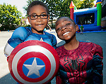 WATERBURY, CT--- -081415JS09- For Super Hero day, Gabe Lacey and Stanley Sands dressed for the parts of Captain America and Spider Man during Camp Summer Sunshine Friday at Chase School in Waterbury. Jim Shannon Republican-American