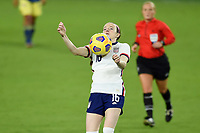 ORLANDO, FL - JANUARY 18: Rose Lavelle #16 of the United States traps the ball during a game between Colombia and USWNT at Exploria Stadium on January 18, 2021 in Orlando, Florida.