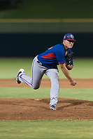AZL Rangers relief pitcher Tyler Cohen (55) follows through on his delivery during an Arizona League game against the AZL Giants Black at Scottsdale Stadium on August 4, 2018 in Scottsdale, Arizona. The AZL Giants Black defeated the AZL Rangers by a score of 6-3 in the second game of a doubleheader. (Zachary Lucy/Four Seam Images)
