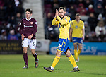 Hearts v St Johnstone…..14.12.19   Tynecastle   SPFL<br />Stevie May applauds the travelling saints fans as he is subbed<br />Picture by Graeme Hart.<br />Copyright Perthshire Picture Agency<br />Tel: 01738 623350  Mobile: 07990 594431