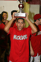 September 15 2008:  Rigoerto Lugo of the Batavia Muckdogs, Class-A affiliate of the St. Louis Cardinals, celebrate winning the NY-Penn League championship after a game at Dwyer Stadium in Batavia, NY.  Photo by:  Mike Janes/Four Seam Images