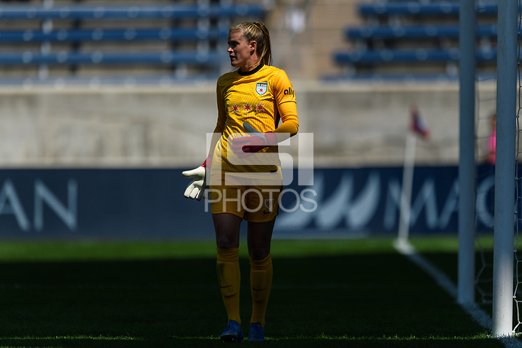 BRIDGEVIEW, IL - JUNE 5: Alyssa Naeher #1 of the Chicago Red Stars looks on during a game between North Carolina Courage and Chicago Red Stars at SeatGeek Stadium on June 5, 2021 in Bridgeview, Illinois.