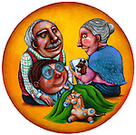 Illustration of grandmother reading story for grandson lying on grandfather's laps