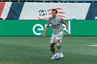 FOXBOROUGH, MA - SEPTEMBER 23: Jukka Raitala #22 of Montreal Impact looks to pass during a game between Montreal Impact and New England Revolution at Gillette Stadium on September 23, 2020 in Foxborough, Massachusetts.