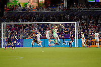ORLANDO, FL - MARCH 05: GK Carly Telford #1 of England clears ball during a game between England and USWNT at Exploria Stadium on March 05, 2020 in Orlando, Florida.