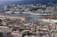 - Genoa, panorama of historical downtown and port....- Genova, panorama del centro storico e del porto