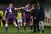 Dusan Vlahovic of ACF Fiorentina celebrates with Nikola Milenkovic and Cesare Prandelli after scoring a goal during the Serie A football match between ACF Fiorentina and Spezia Calcio at Artemio Franchi stadium in Firenze (Italy), February 19, 2021. Photo Image Sport / Insidefoto