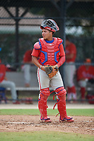 Philadelphia Phillies catcher Cesar Rodriguez (12) during an Instructional League game against the Toronto Blue Jays on September 27, 2019 at Englebert Complex in Dunedin, Florida.  (Mike Janes/Four Seam Images)