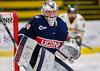9 February 2020: University of Connecticut Husky Goaltender Morgan Fisher, a Senior from Vernon, CT, in second period action against the University of Vermont Catamounts at Gutterson Fieldhouse in Burlington, Vermont. The Lady Cats defeated the Huskies 6-2 in the second game of their weekend Hockey East series. Mandatory Credit: Ed Wolfstein Photo *** RAW (NEF) Image File Available ***