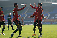 7th November 2020; Liverpool, England;  Manchester Uniteds Bruno Fernandes celebrates with teammates after scoring his second goal during the Premier League match between Everton and Manchester United at Goodison Park Stadium