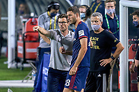 CHICAGO, UNITED STATES - AUGUST 25: Raphael Wicky head coach of Chicago talks with Elliot Collier #28 of Chicago Fire during a game between FC Cincinnati and Chicago Fire at Soldier Field on August 25, 2020 in Chicago, Illinois.