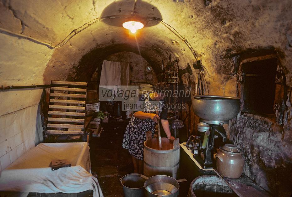 Europe/France/Auvergne/15/Cantal/env de Vic sur Cère: fabrication du cantal au buron [<br /> PHOTO D'ARCHIVES // ARCHIVAL IMAGES<br /> FRANCE 1980