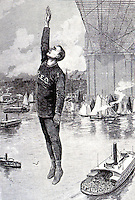 Robert Odlum jumping from Brooklyn Bridge on May 19, 1885. From Frank Leslie's Illustrated Newspaper, May 30, 1885. Historical photograph.