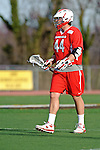 Baltimore, MD - March 3: Game winning scorer Attackmen John Snellman #44 of the Fairfield Stags during the Fairfield v UMBC mens lacrosse game at UMBC Stadium on March 3, 2012 in Baltimore, MD.