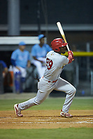 Todd Lott (29) of the Johnson City Cardinals follows through on his swing against the Burlington Royals at Burlington Athletic Stadium on September 3, 2019 in Burlington, North Carolina. The Cardinals defeated the Royals 7-2 to even Appalachian League Championship series at one game a piece. (Brian Westerholt/Four Seam Images)