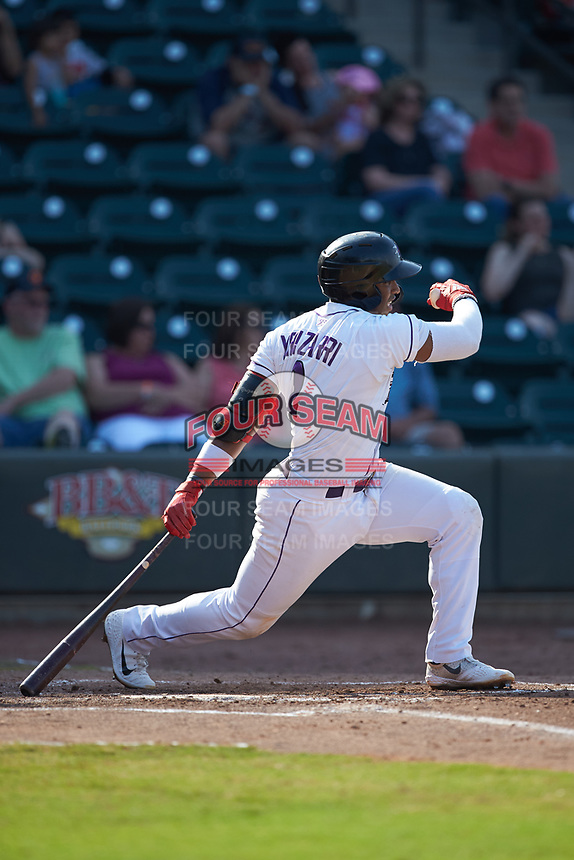 Yeyson Yrizarri (2) of the Winston-Salem Dash follows through on his swing against the Carolina Mudcats at BB&T Ballpark on June 1, 2019 in Winston-Salem, North Carolina. The Mudcats defeated the Dash 6-3 in game one of a double header. (Brian Westerholt/Four Seam Images)
