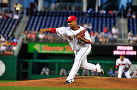 21 June 2010: Washington Nationals' starting pitcher Livan Hernandez on the mound against the Kansas City Royals at Nationals Park in Washington, DC. The Nationals edged out the Royals 2-1 in the first game of their 3-game interleague series, snapping a 6-game losing streak. Mandatory Credit: Ed Wolfstein Photo