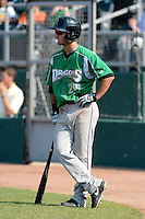 Dayton Dragons outfielder Beau Amaral (25) waits on deck during a game against the Lansing Lugnuts on August 25, 2013 at Cooley Law School Stadium in Lansing, Michigan.  Dayton defeated Lansing 5-4 in 11 innings.  (Mike Janes/Four Seam Images)