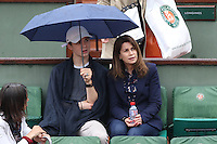 Valerie Kaprisky and her nephew seen watching tennis during Roland Garros tennis open 2016 on may 28 2016.