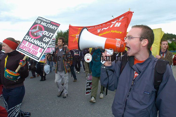 Getting their message out loud and clear during the anti war protest in Shannon. Photograph by John Kelly.