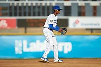 Burlington Royals shortstop Maikel Garcia (2) on defense against the Danville Braves at Burlington Athletic Stadium on July 13, 2019 in Burlington, North Carolina. The Royals defeated the Braves 5-2. (Brian Westerholt/Four Seam Images)