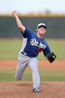 Los Angeles Dodgers pitcher Jacob Rhame (73) during an Instructional League game against the Cleveland Indians on October 7, 2013 at Goodyear Training Complex in Goodyear, Arizona.  (Mike Janes/Four Seam Images)